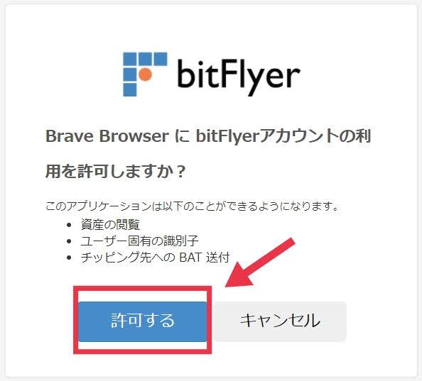 bitFlyerで許可する