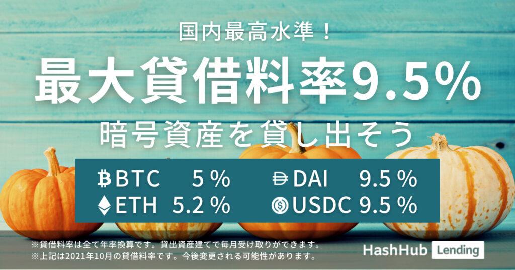 HashHubレンディングの2021年9月【貸借料率】